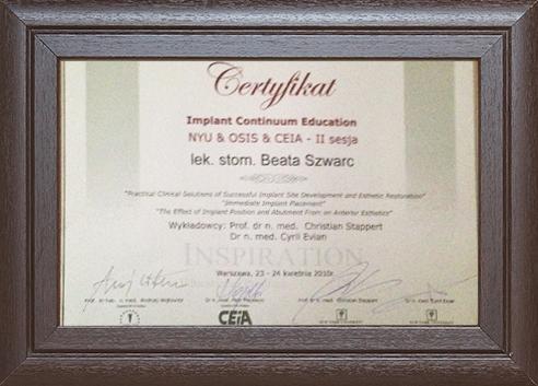 Szwarc certyfikat